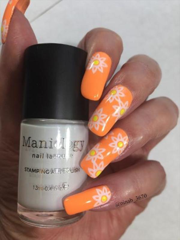 Neon Sun nail art by NinaB
