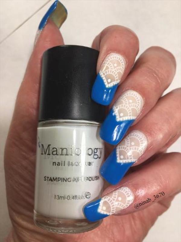 Neon Blue French nail art by NinaB