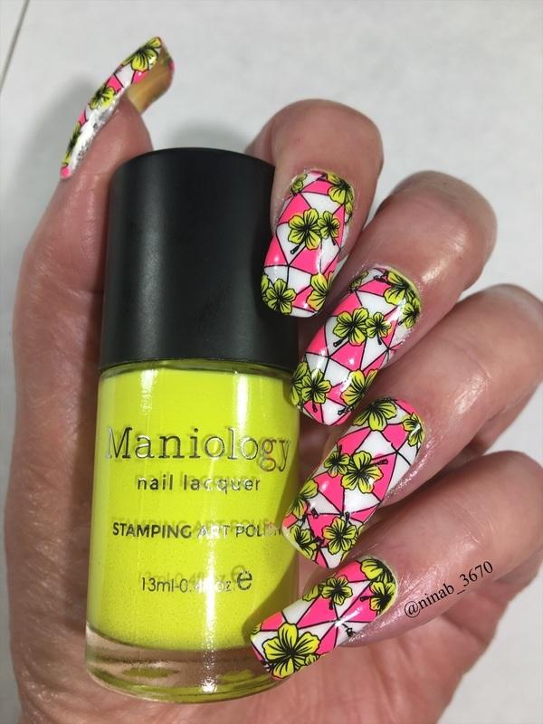 Neon Geometric Flowers nail art by NinaB
