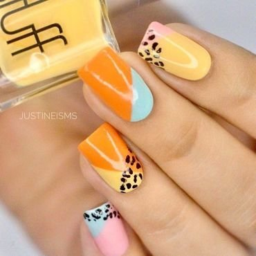 Leopard Color Block nail art by ℐustine