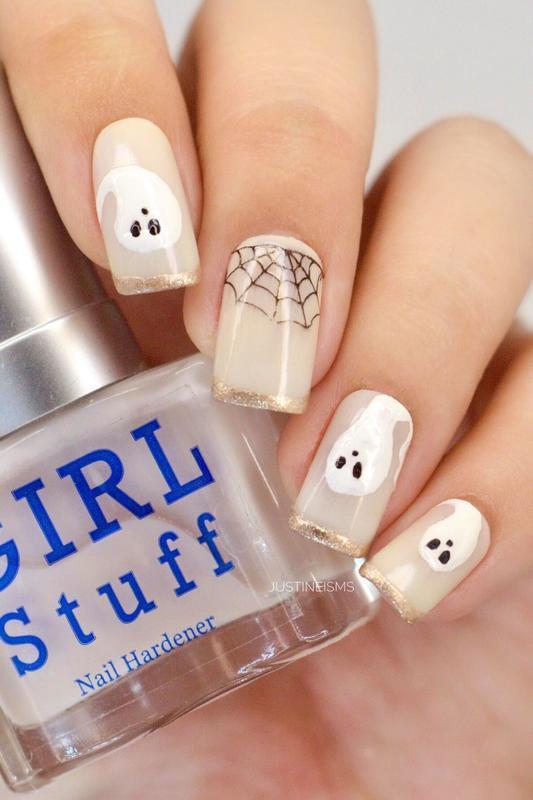 Swooshy Ghost nail art by ℐustine