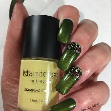 Subtle Fall Flowers nail art by NinaB