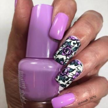 Lilac Floral nail art by NinaB