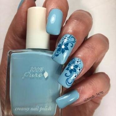 Blue Floral nail art by NinaB