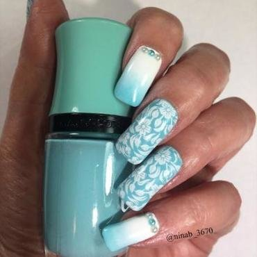 Ombre, Stamping, and Pearls nail art by NinaB