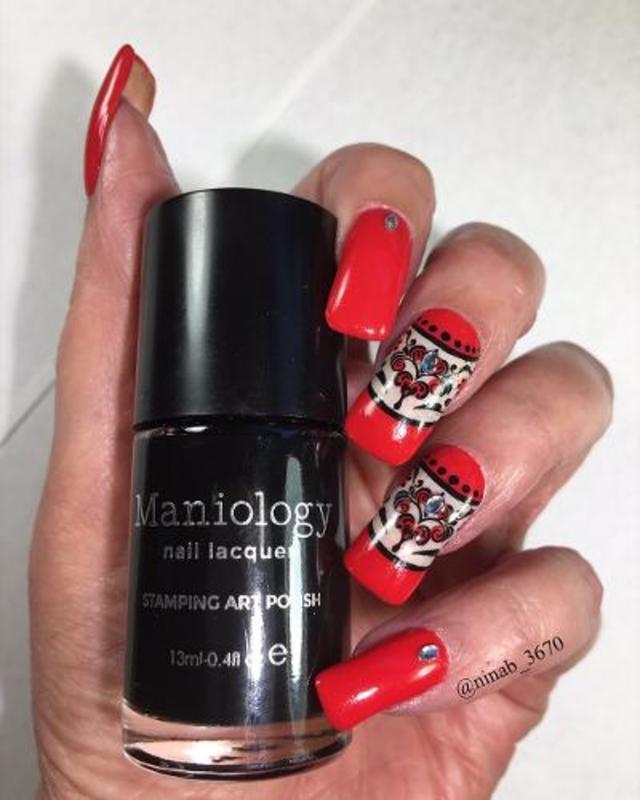 Cherry Red nail art by NinaB