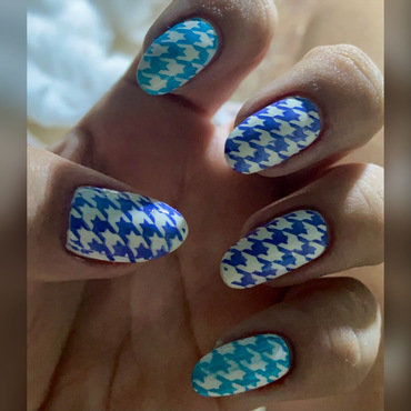 Blue and white Plaid nail art by Juliana  Bräsil