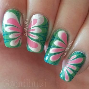 Watermelon Watermarble nail art by Adi Buki