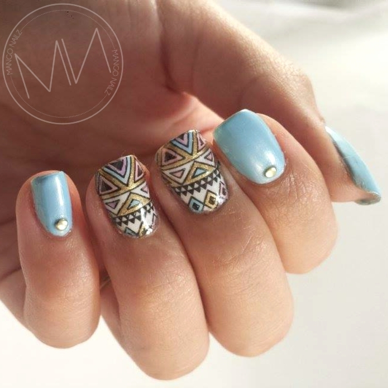 Fresh triangles  nail art by Mango Nailz
