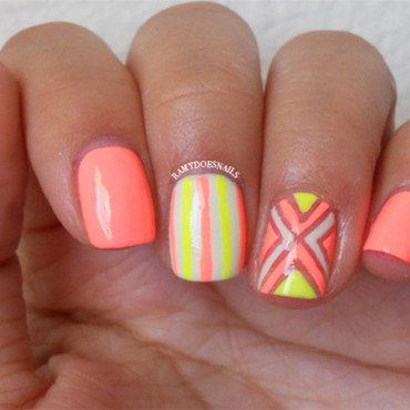 Neon Lines nail art by Ramy Ang