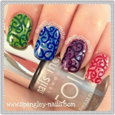 Colourful Swirl Nail Art nail art by Nicole Louise