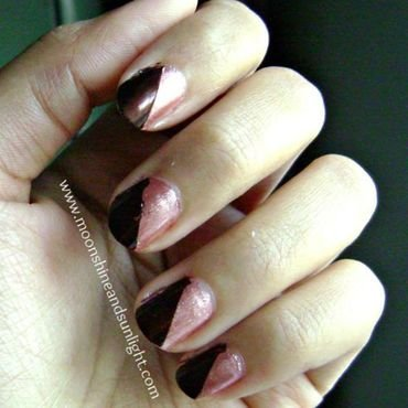The sepia color block nail art by Priyanjana Roy