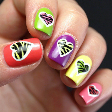Wild Zebra Hearts Can't Be Broken nail art by Emiline Harris