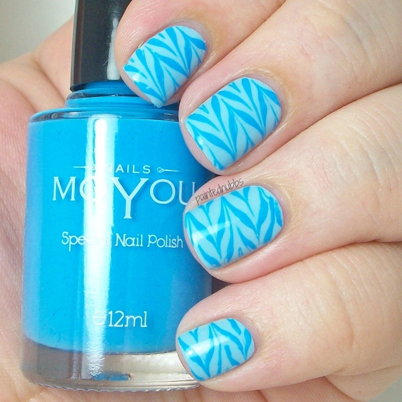 Blue Monochromatic Stamping nail art by Ashlee