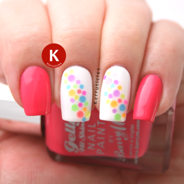 Glitter placement: muti-coloured neon dots nail art by Claire Kerr