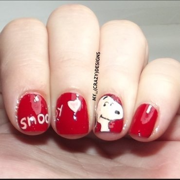 Snoopy nails nail art by Mycrazydesigns
