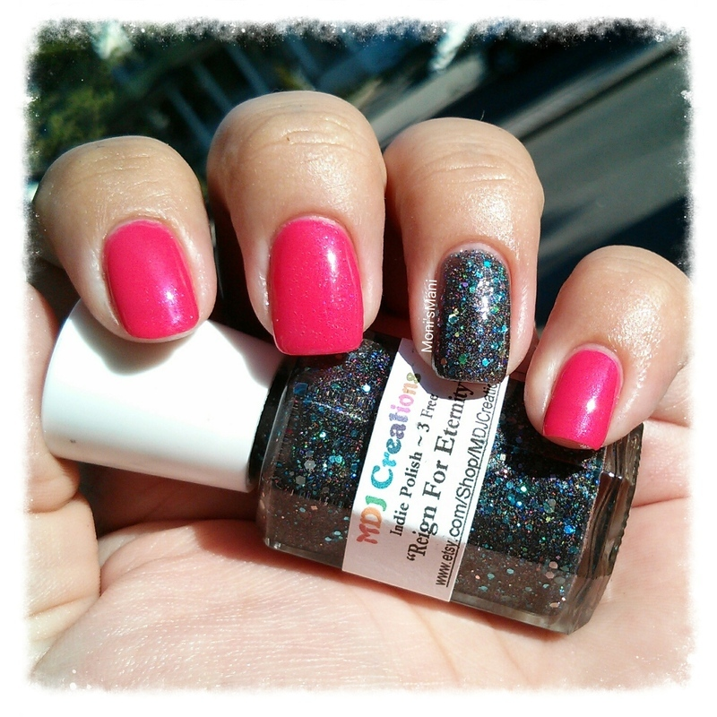 hot pink nails with black holographic accent nail art by Moni\'sMani ...