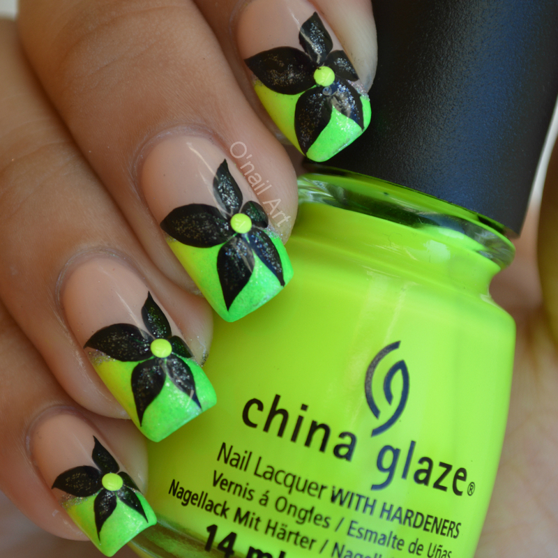 Summer nail art nailpolis magazine neon french manicures with black flowers prinsesfo Choice Image