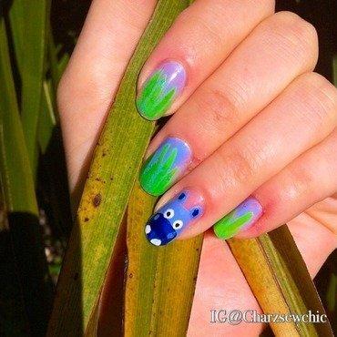 Hippo nail art nail art by Charlotte Speller