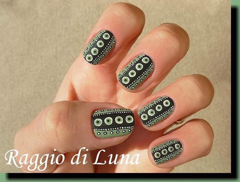Dots green & black & white nail art by Tanja