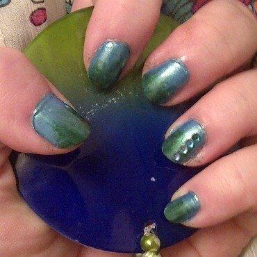 Aqua Gradient nail art by Steph