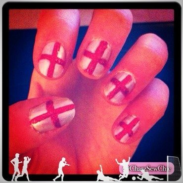 Come on England! nail art by Charlotte Speller