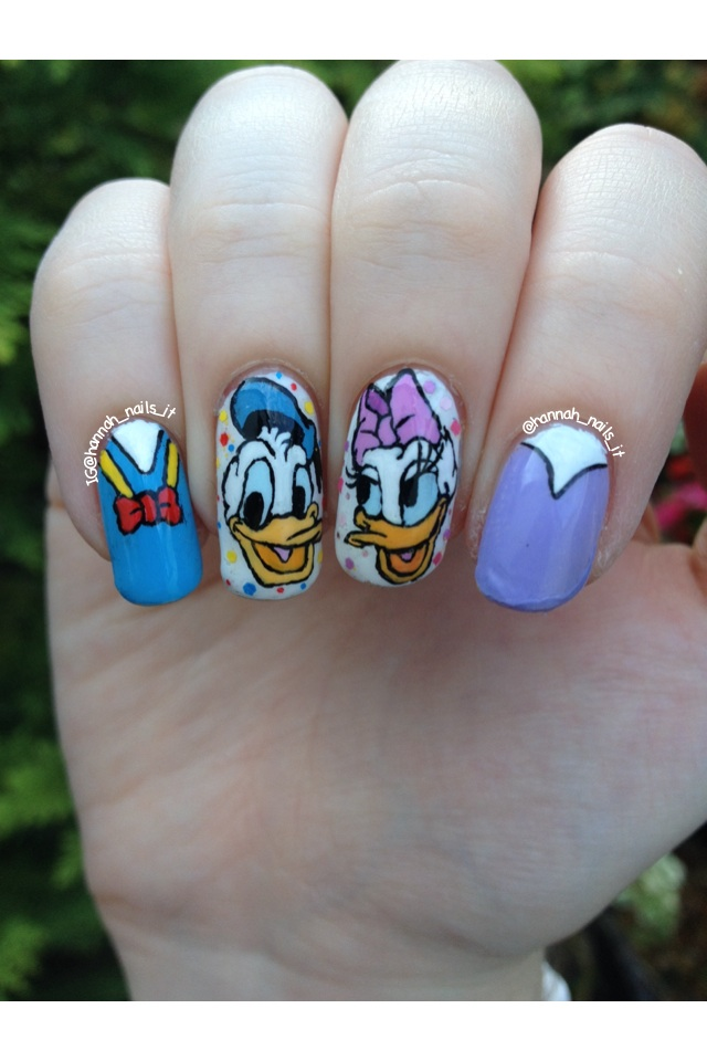 Donald and Daisy nail art by Hannah