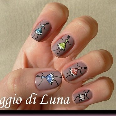 Dancing tulips on taupe nail art by Tanja