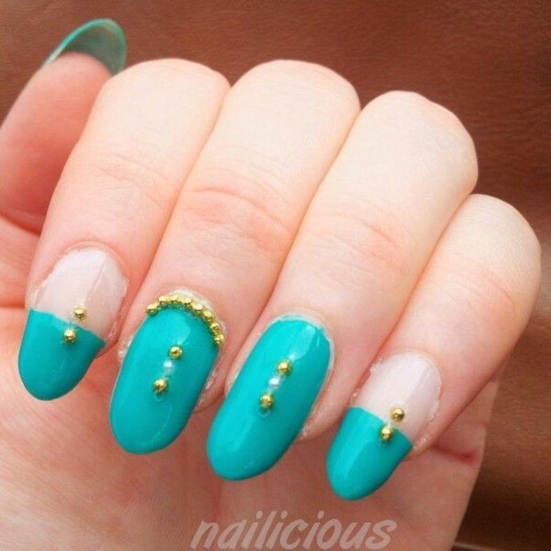 emerald green nail art by nailicious_1