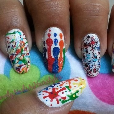 Paint splatter Nails in 5 Different ways nail art by Lovely Mishra