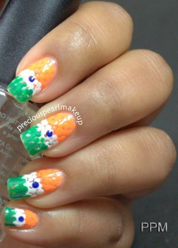 Indian Flag Nails nail art by Pearl P.