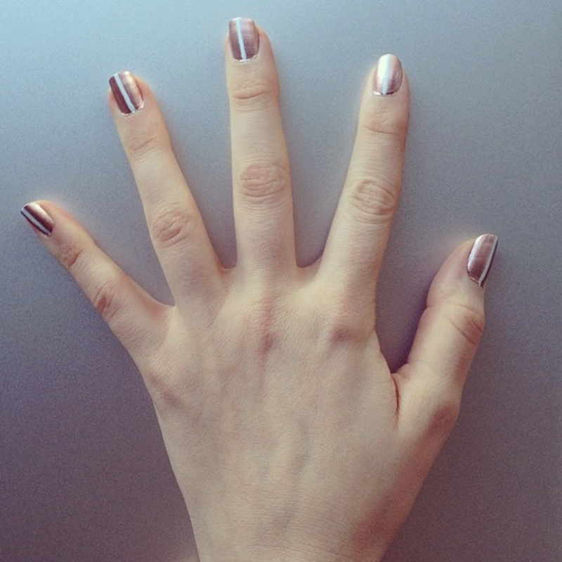 Rose Gold With Vertical White Stripe Nail Art By Chandlerfrench