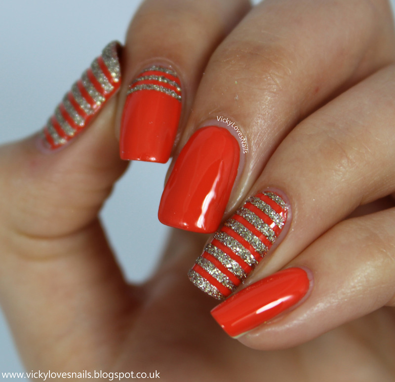 Orange and Gold Textured Stripes nail art by Vicky Standage