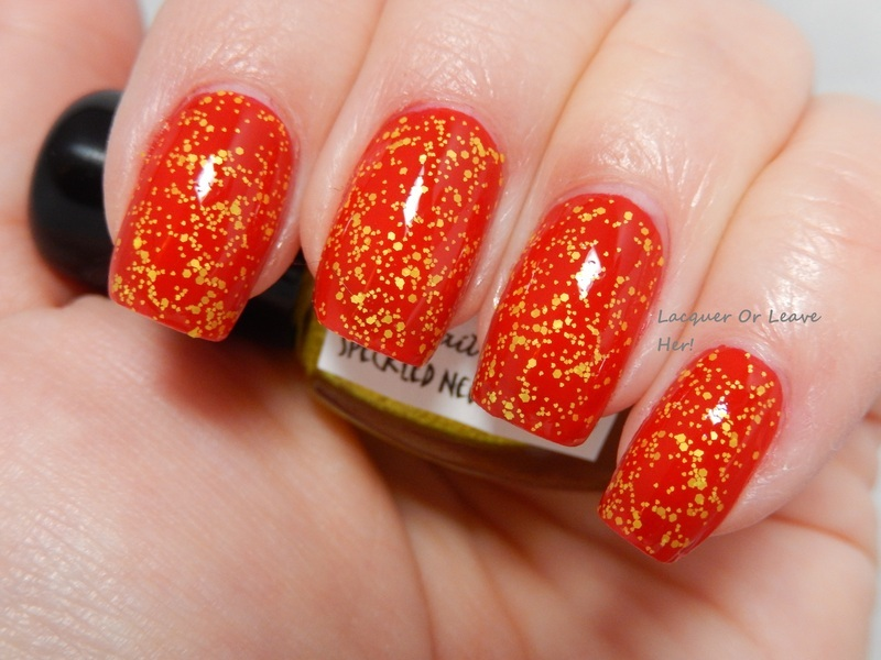 InDecisive Nail Lacquer Speckled Neon Yellow and Barielle Miami Heat Swatch by Lacquer or Leave Her! Michelle Chouinard