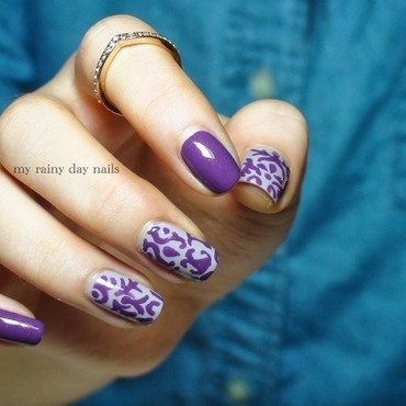 Purple Baroque Pattern Nail Art nail art by Nova Qi (My Rainy Day Nails)