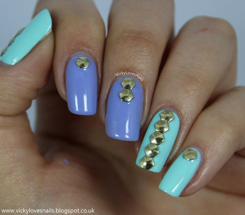 Hexagonal Stud Skittle nail art by Vicky Standage