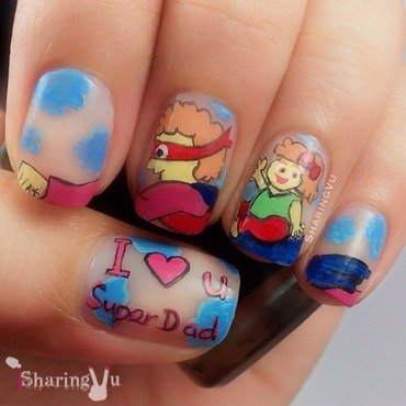 ❤️ I Love You My SuperDad ❤️ nail art by SharingVu