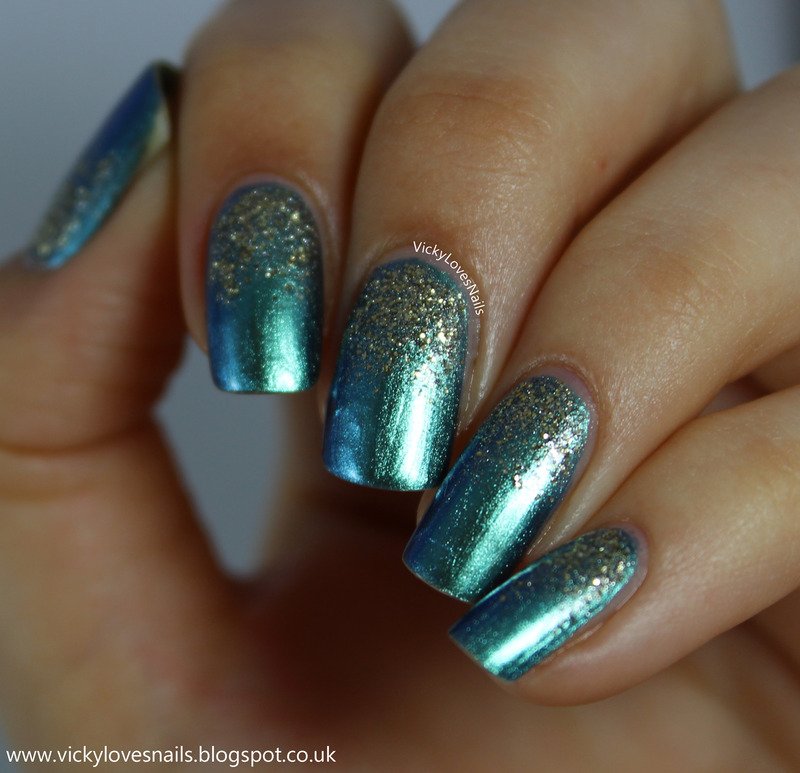 Textured Glitter Gradient nail art by Vicky Standage