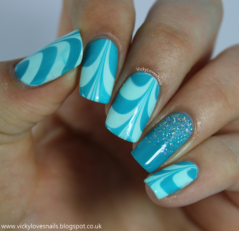 Teal Watermarble with Glitter Gradient Accent nail art by Vicky Standage