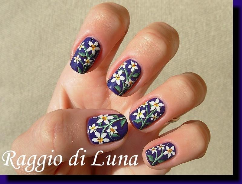 White flowers on dark purple nail art by Tanja