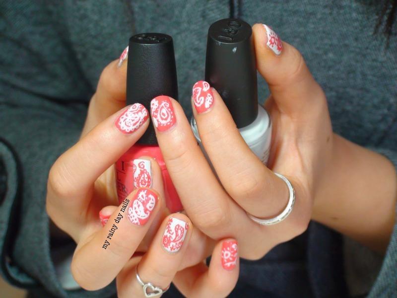 Red and White Paisley Nail Art nail art by Nova Qi (My Rainy Day Nails)