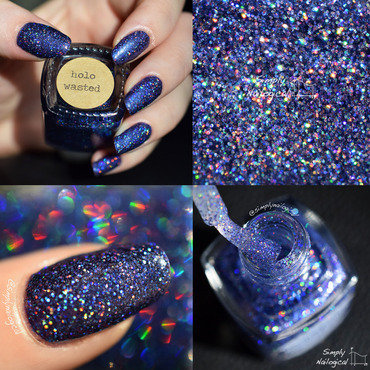 Painted Polish Holo Wasted Swatch by simplynailogical