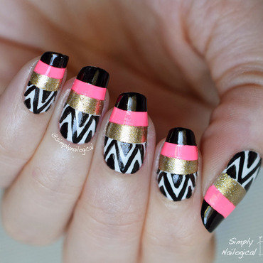 Patterned pink, black and gold nails from a mani swap nail art by simplynailogical
