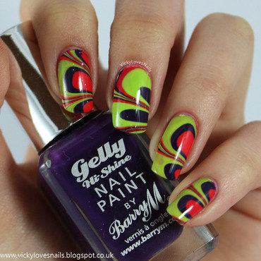 Purple, Red and Green Watermarble nail art by Vicky Standage