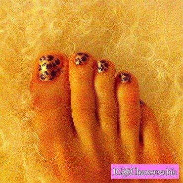 Leopard twinkle toes nail art by Charlotte Speller