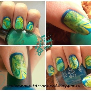 Earth Water Marble nail art by Sophie