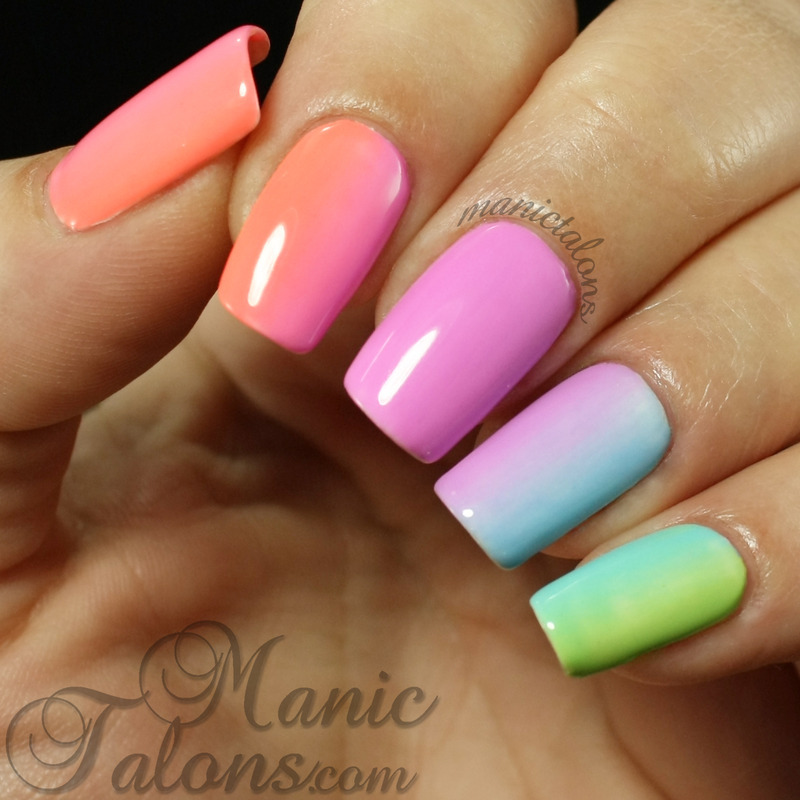 Simple Rainbow Gradient with Gel Polish nail art by ManicTalons