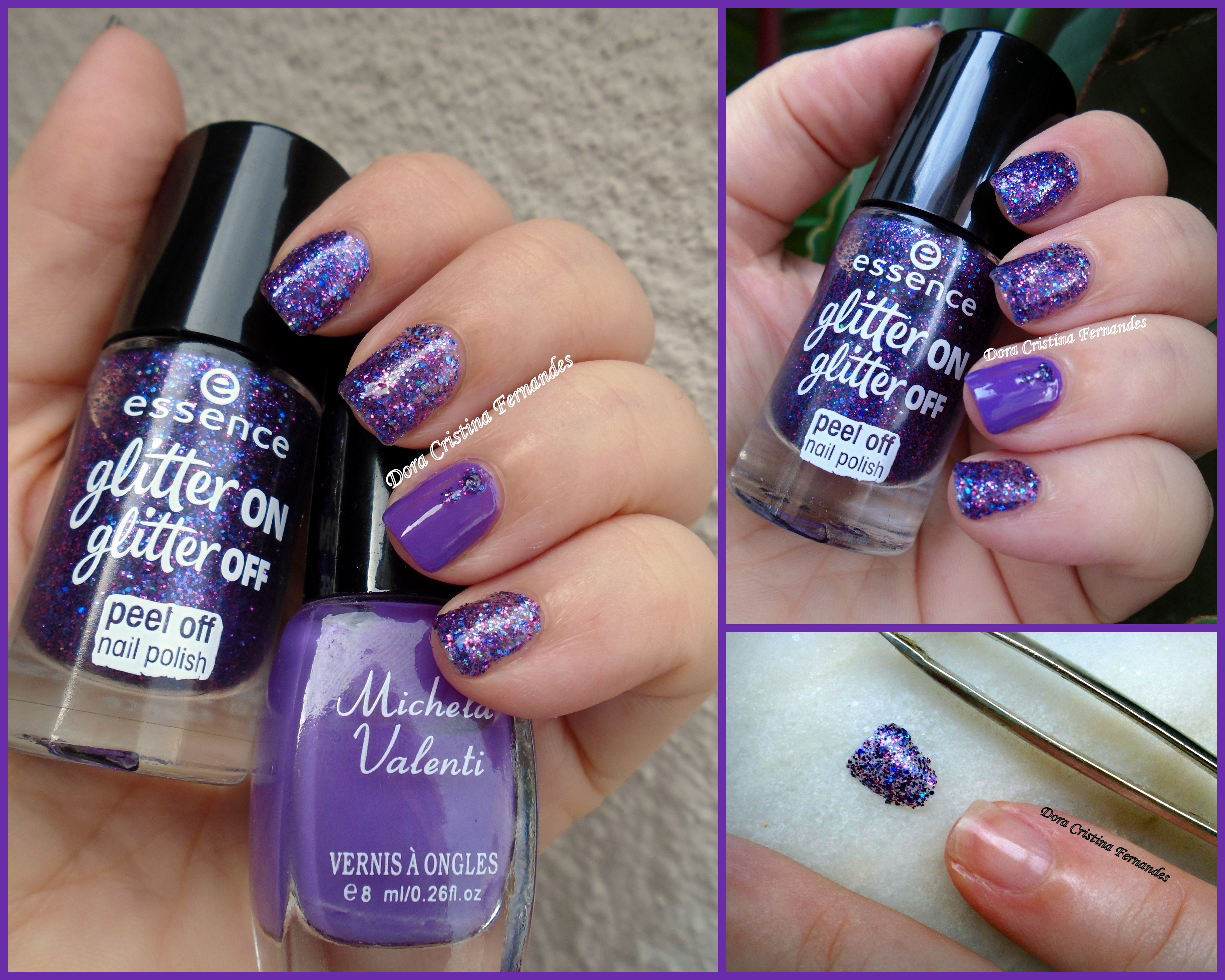 Essence%20glitter%20on%2c%20glitter%20off%20peel%20off%20polish%20%2b%20michela%20valenti%20%2015%20%2b%20%25cinco%20base%20%2b%20colorama%20cobertura%20intensificadora%203%20dias