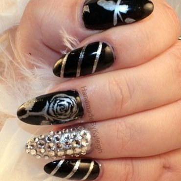 Black and Silver Sparkle nail art by  Kyleigh  'Handmade By Kyleigh'