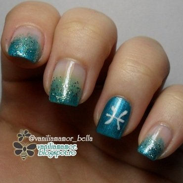 Zodiac - Pisces nail art by Isabella